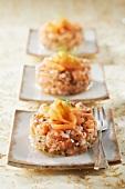 Mixed fresh and smoked salmon tartare
