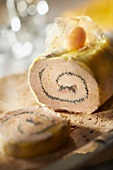 Rolled foie gras with poppyseeds and spices