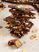 Pieces of chocolate and amond toffee