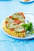 Green and red tomato savoury tart