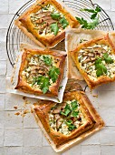 Fresh goat's cheese,pear,hazelnut,honey and flat parsley small tarts