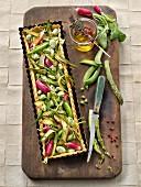 Green vegetable and radish tart