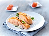 Pieces of salmon in creamy sauce