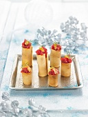Rolled biscuits stuffed with raw red tuna