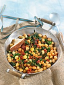 Chickpeas with spinach and Chorizo
