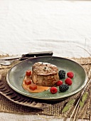 Steak with quince sauce and summer fruit