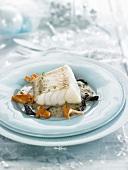 Stewed salt cod with mushroom sauce