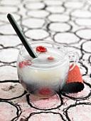 Milk tea, tapioca and summer fruit dessert