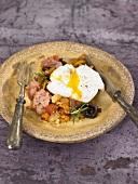 Sauteed botifarra, squash, mushrooms and soft-boiled egg