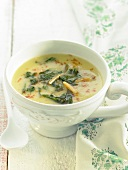 Cream of potato soup with spinach