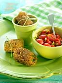 Potato and pea croquettes, cherry tomato salad