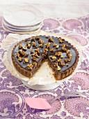 Chocolate and caramelized fruit tart