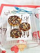 Banana, walnut and melted chocolate tatin tartlets