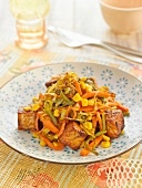 Vegetable and tempeh wok
