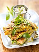 Green asparagus,Brousse,rocket lettuce and basil omelette