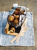 Buckwheat and Comté cheeseballs and nuoc-mâm