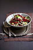 Grated zucchini and beetroot salad with seaweed