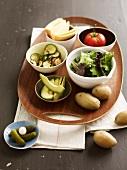 Ingredients for a vegetarian Raclette