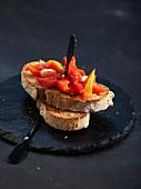 Red pepper and garlic bruschetta