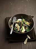 Green bean, parmesan and anchovy salad