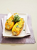 Grilled corn on the cobs with herb butter