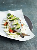 Sea bream and fennel cooked in wax paper