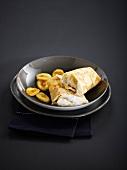 Banana-whipped cream pancake wrap