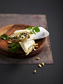 Eggplant, cream cheese and pine nut wrap