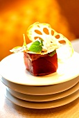 Pan-fried and caramelized tuna at the Landmark Mandarin Oriental Hotel