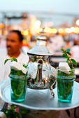 Selling mint tea on the Jemaa el-Fna square