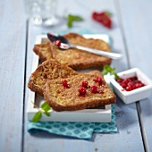 French toast with stewed redcurrants
