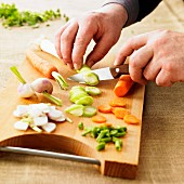 Slicing vegetables for a soup