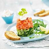 Cucumber and salmon tartare duo
