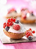 Small grilled brioche topped with summerfruit mousse