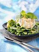 Piece of cod with green vegetables