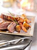 Pan-fried duck magret with sherry vinaigar,turnips and carrots