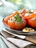 Tomatoes stuffed with shrimps, crab and mayonnaise