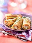 Salmon and chive cream cheese pancake rolls