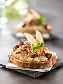 Mashed potato,flaked preserved duck,apple and hazelnut open sandwich