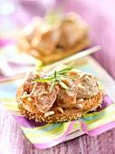 Hummus, veal Picatta and pinenut open sandwich