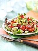 Avocado,tomato and vinaigry diced bacon salad