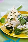 Kiwi, fresh Tomme, brick, watercress, shallot and tarragon salad