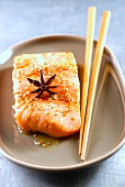 Marinated salmon with soya sauce and sesame seeds