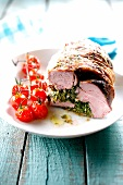 Saddle of lamb stuffed with herbs