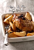 Veal roast with pears,star anise and cinnamon