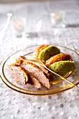 Duck fillets pureed cabbage and pureed dates