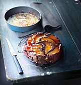 Chocolate and pear upside-down cake