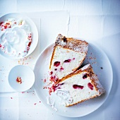 Slices of pink praline angel cake
