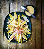 Chicory salad with Roquefort and creamy walnut sauce