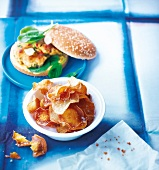 Chicken burger with potato chips